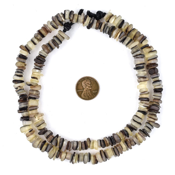 Brown Square Cut Natural Shell Heishi Beads (8mm)
