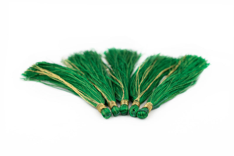 Green 6cm Silk Tassels (5 Pack) - The Bead Chest