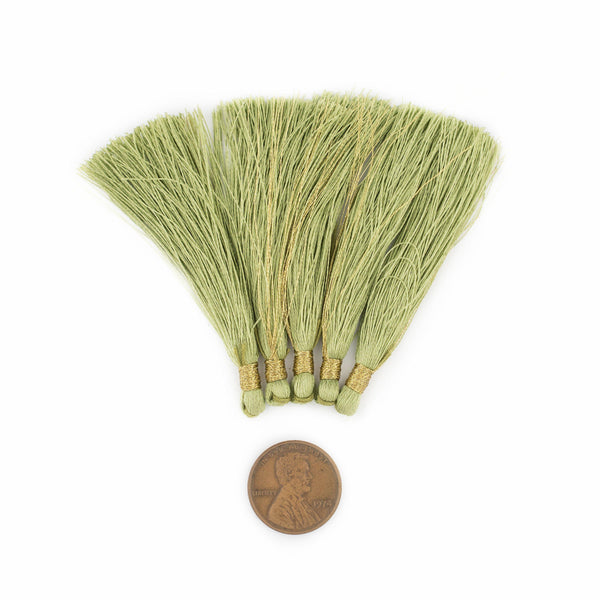 Light Green 6cm Silk Tassels (5 Pack)