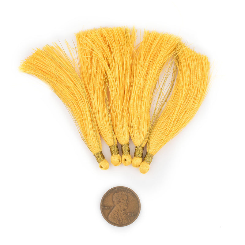Yellow 6cm Silk Tassels (5 Pack) - The Bead Chest