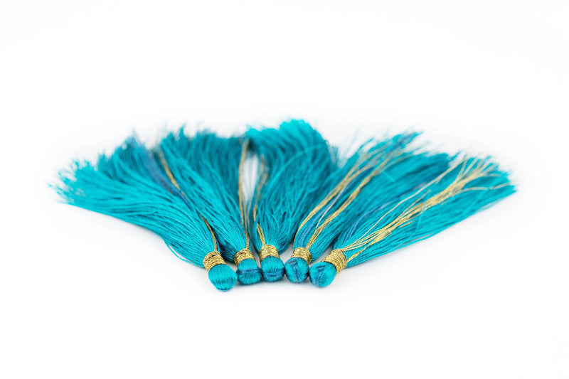 Teal 6cm Silk Tassels (5 Pack) - The Bead Chest