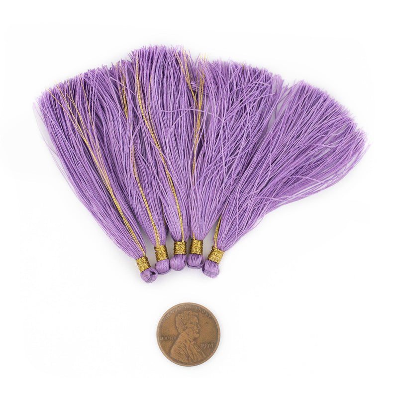 Light Purple 6cm Silk Tassels (5 Pack) - The Bead Chest