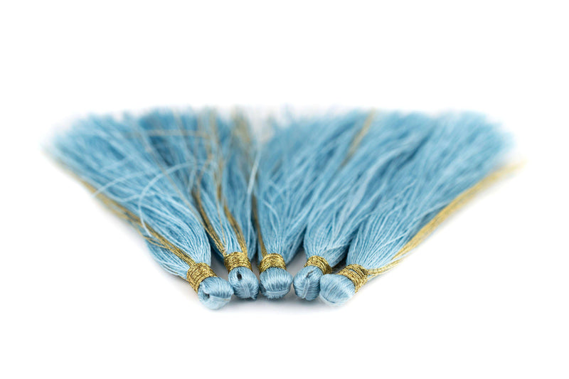 Light Blue 6cm Silk Tassels (5 Pack) - The Bead Chest