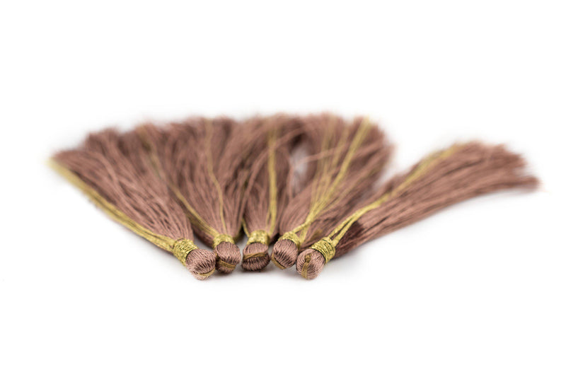 Groundhog Grey 6cm Silk Tassels (5 Pack) - The Bead Chest