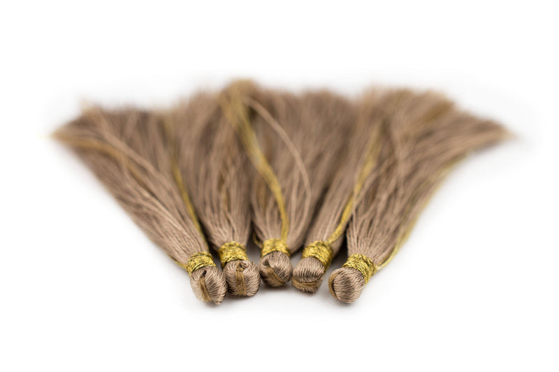 Beige 6cm Silk Tassels (5 Pack) - The Bead Chest