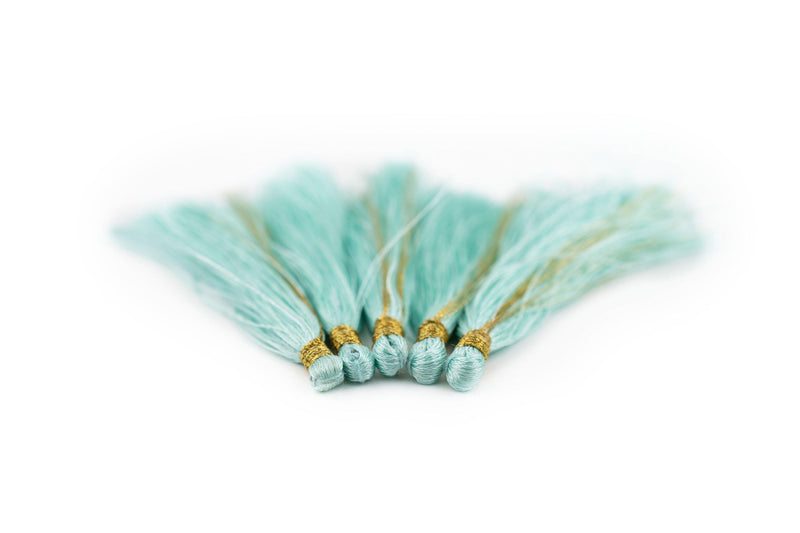 Clear Aqua 6cm Silk Tassels (5 Pack) - The Bead Chest