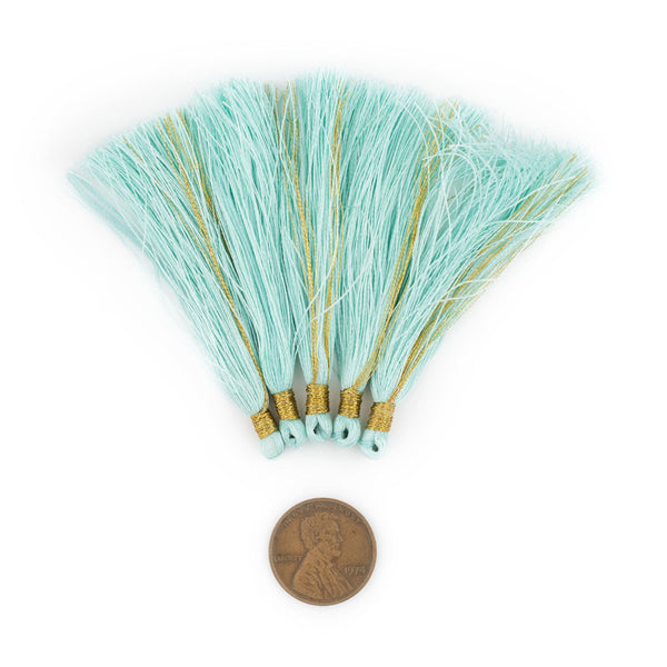 Clear Aqua 6cm Silk Tassels (5 Pack)