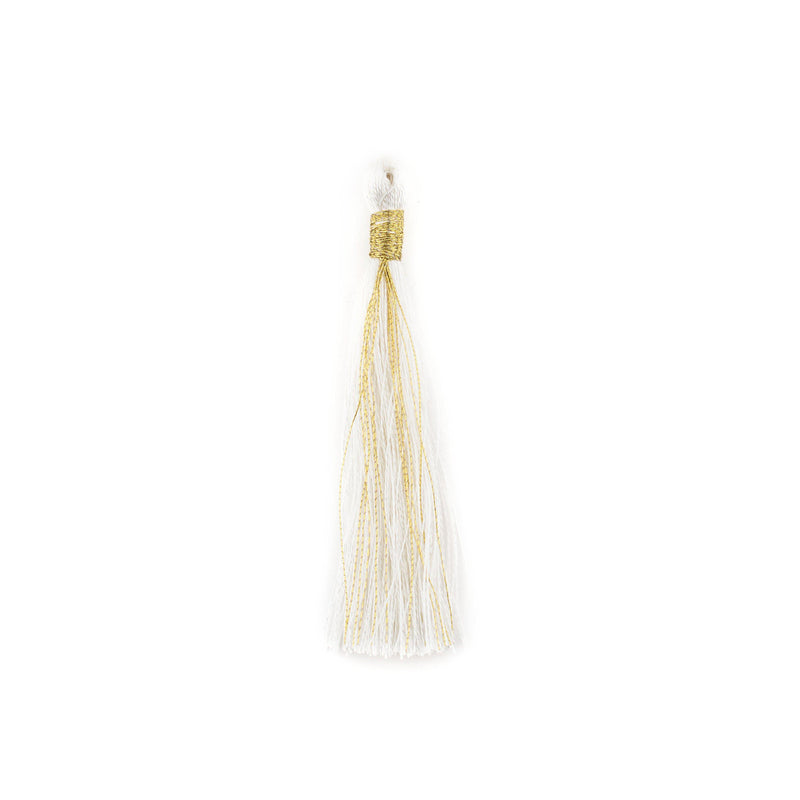 White 6cm Silk Tassels (5 Pack) - The Bead Chest
