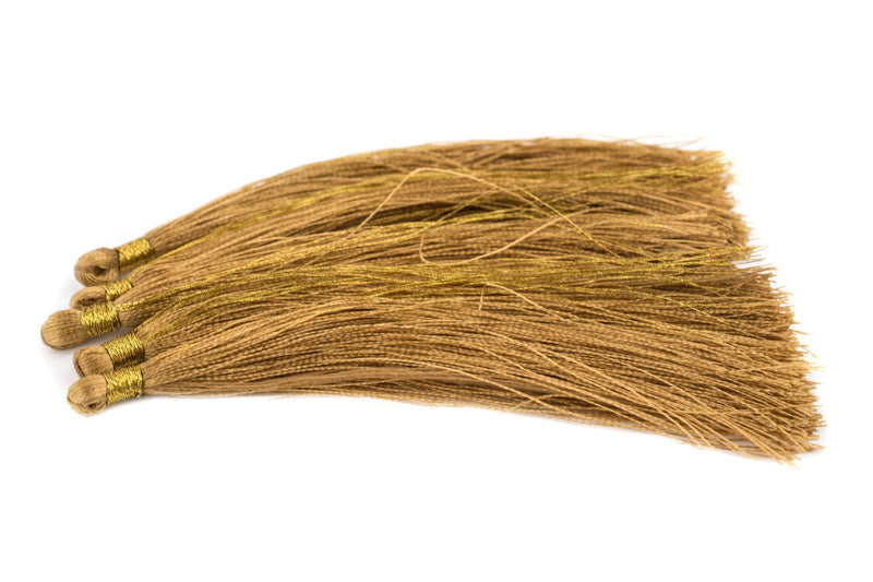 Brass Color 9cm Color Silk Tassels (5 Pack) - The Bead Chest