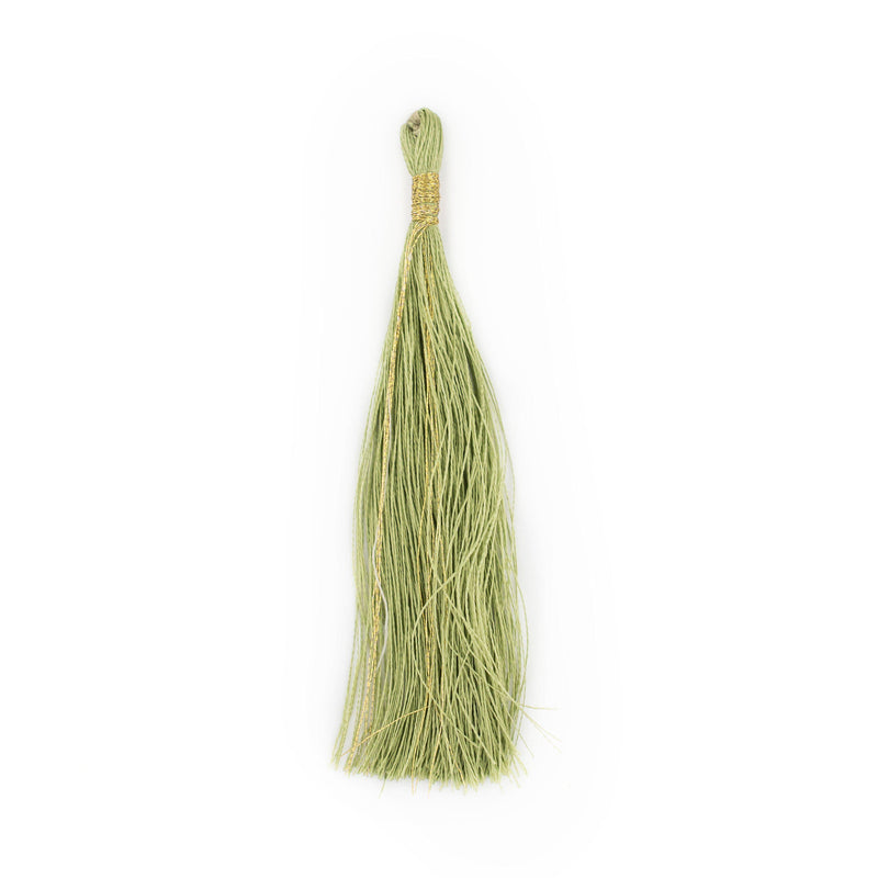 Light Green 9cm Silk Tassels (5 Pack) - The Bead Chest