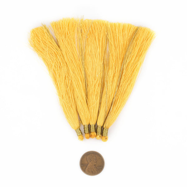 Yellow 9cm Silk Tassels (5 Pack)