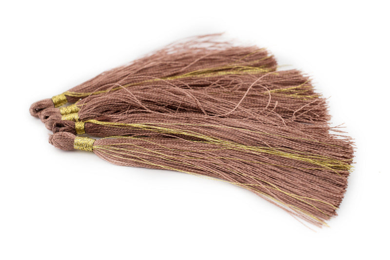 Groundhog Grey 9cm Silk Tassels (5 Pack) - The Bead Chest
