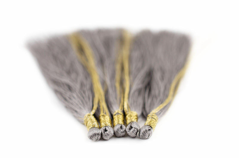 Silver Color 9cm Silk Tassels (5 Pack) - The Bead Chest