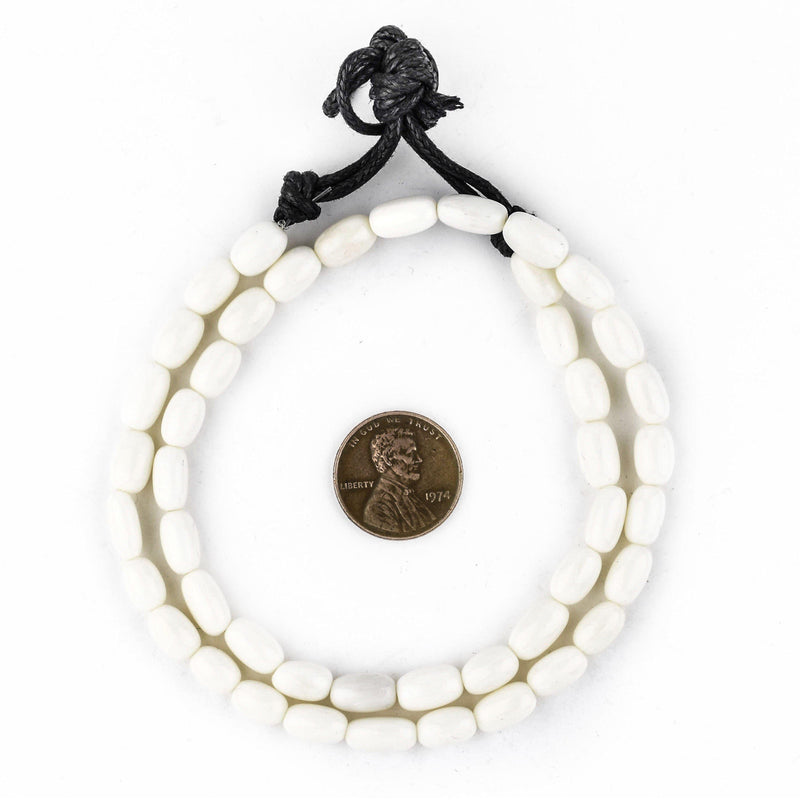 Oval White Bone Beads (10x6mm) - The Bead Chest