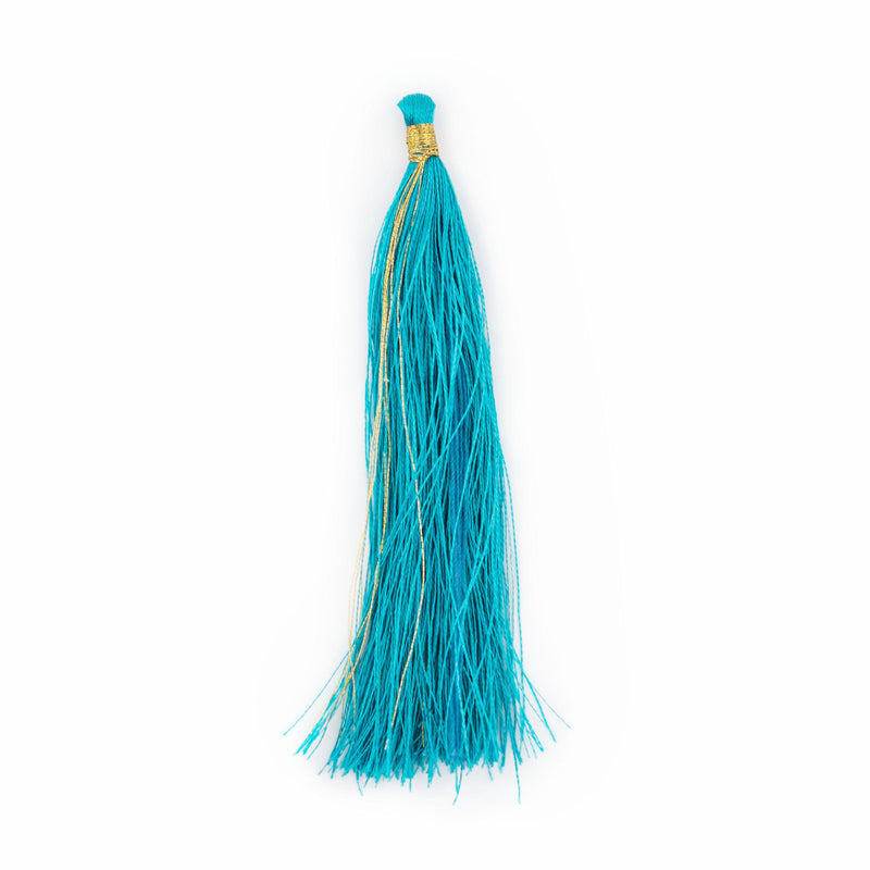 Teal 9cm Silk Tassels (5 Pack) - The Bead Chest