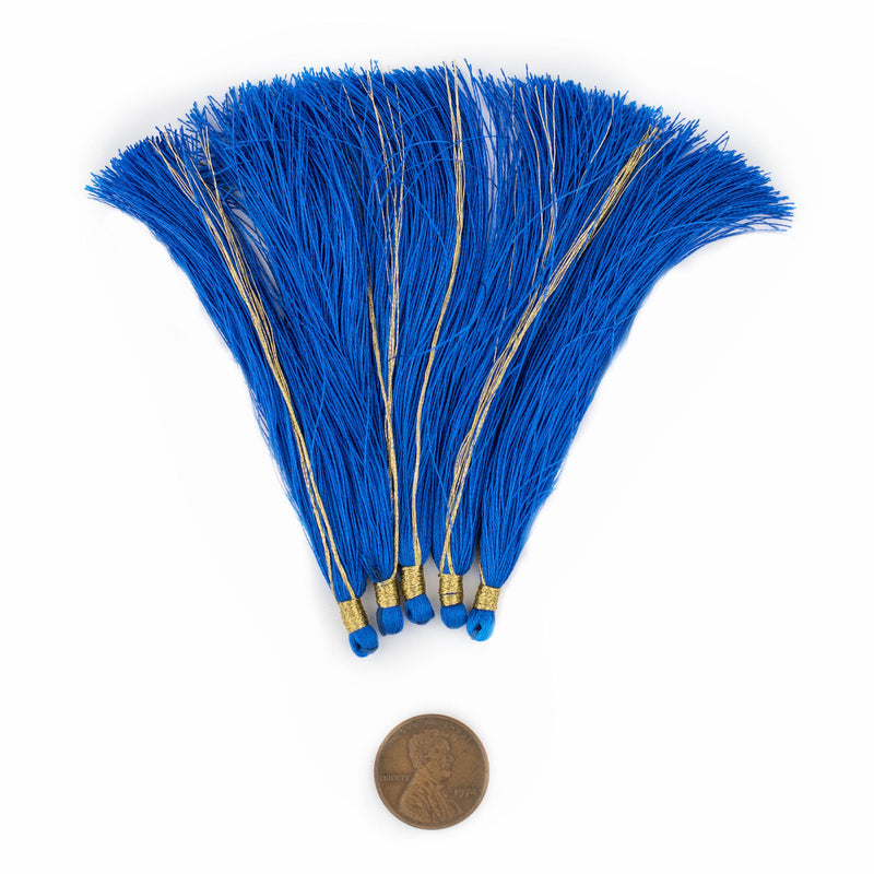 Cobalt Blue 9cm Silk Tassels (5 Pack) - The Bead Chest