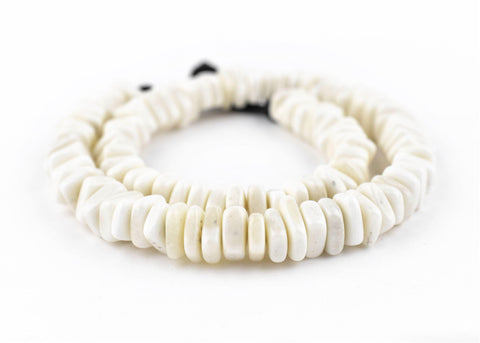 Flat Square Disk White Bone Beads (3x10mm) - The Bead Chest