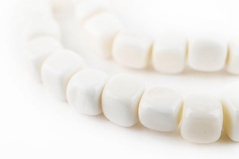 Cube White Bone Beads (6mm) - The Bead Chest