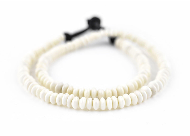Saucer White Bone Beads (6mm) - The Bead Chest