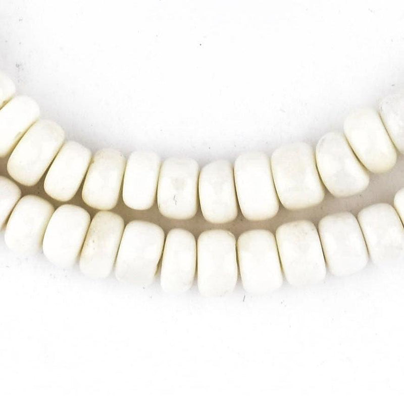 Disk White Bone Beads (6mm) - The Bead Chest
