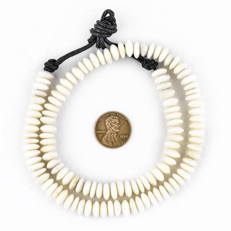 Saucer White Bone Beads (7mm) - The Bead Chest