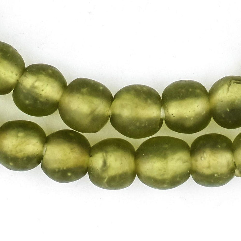 Olive Green Recycled Glass Beads (11mm) - The Bead Chest
