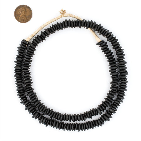 Midnight Black Ashanti Glass Saucer Beads (8mm) - The Bead Chest