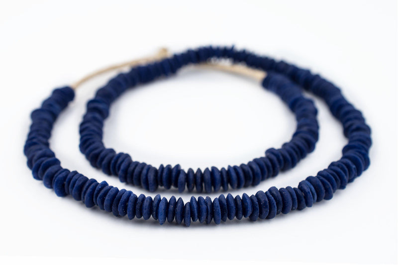 Cobalt Blue Ashanti Glass Saucer Beads (8mm) - The Bead Chest