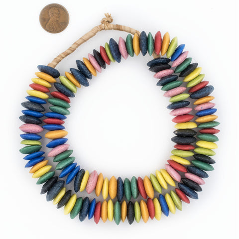 Image of Rainbow Medley Ashanti Glass Saucer Beads - The Bead Chest