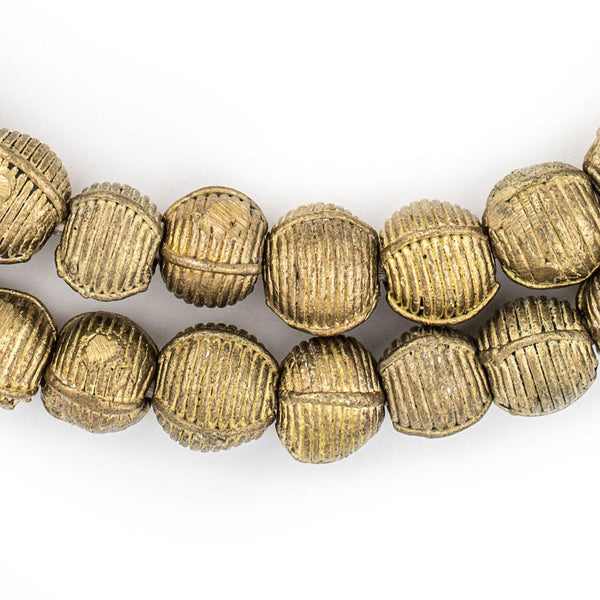 Ivory Coast Style Wound Round Brass Beads (11mm) - The Bead Chest