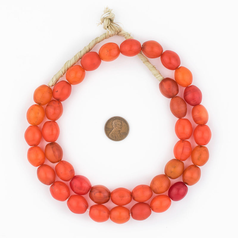 Orange Glass Tomato Beads (16x14mm) - The Bead Chest