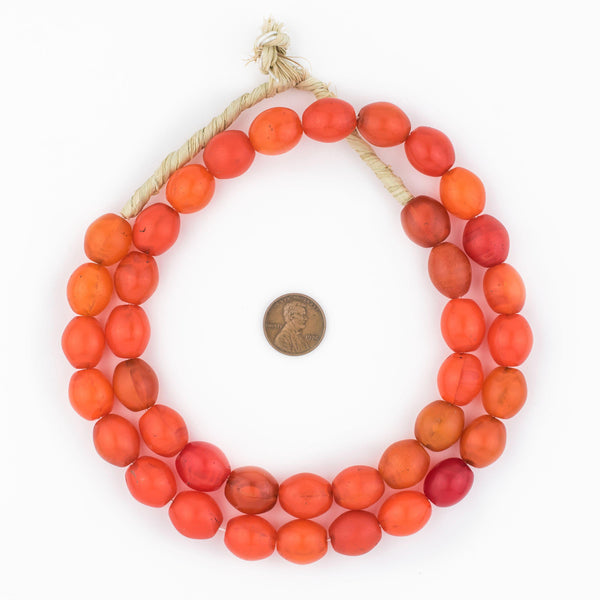 Orange Glass Tomato Beads (16x14mm)