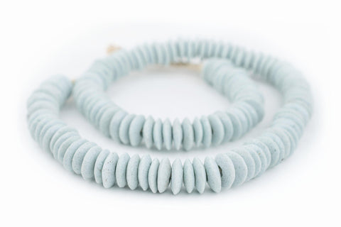 Light Aqua Ashanti Glass Saucer Beads - The Bead Chest