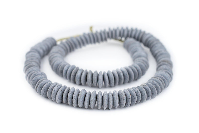 Grey Ashanti Glass Saucer Beads (14mm) - The Bead Chest