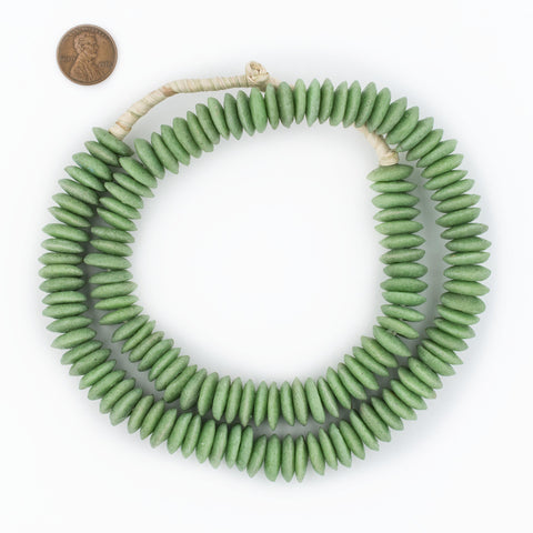 Image of Pistachio Green Ashanti Glass Saucer Beads (14mm) - The Bead Chest
