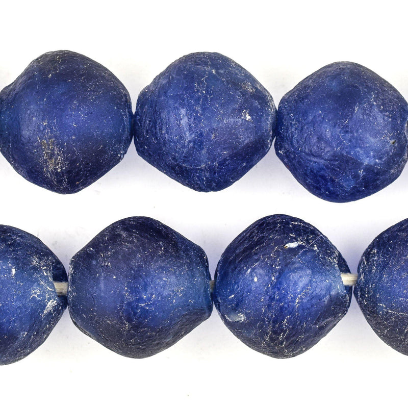Super Jumbo Blue Bicone Recycled Glass Beads (35mm) - The Bead Chest