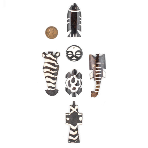 6 Pendant Bundle: Kenya Batik Bone - The Bead Chest