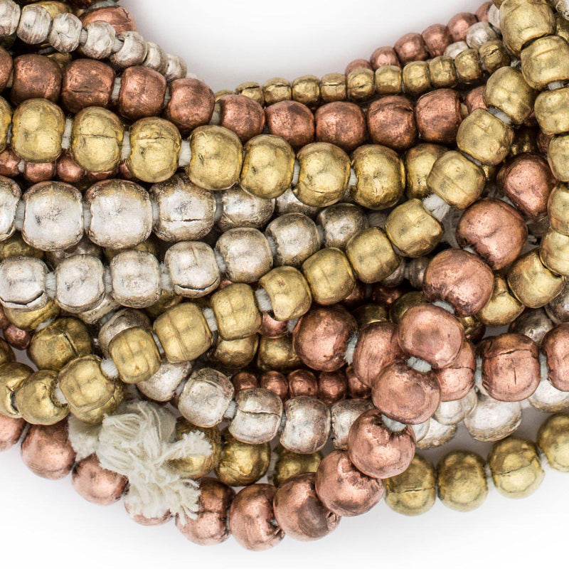 9 Strand Bundle: Ethiopian Round Metal Beads (4mm, 6mm, 8mm) - The Bead Chest