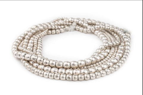 Image of 3 Strand Bundle: Ethiopian Round Silver Beads (4mm, 6mm, 8mm) - The Bead Chest