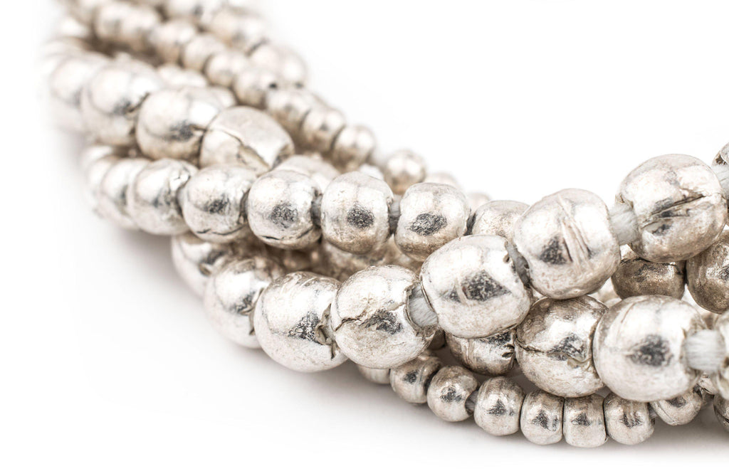 3 Strand Bundle: Ethiopian Round Silver Beads (4mm, 6mm, 8mm) - The Bead Chest