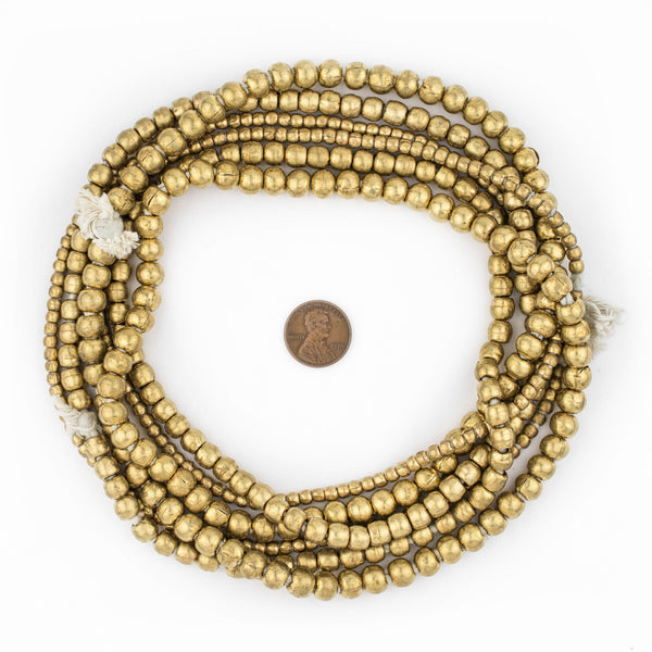 3 Strand Bundle: Ethiopian Round Brass Beads (4mm, 6mm, 8mm)
