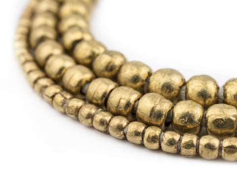 3 Strand Bundle: Ethiopian Round Brass Beads (4mm, 6mm, 8mm) - The Bead Chest