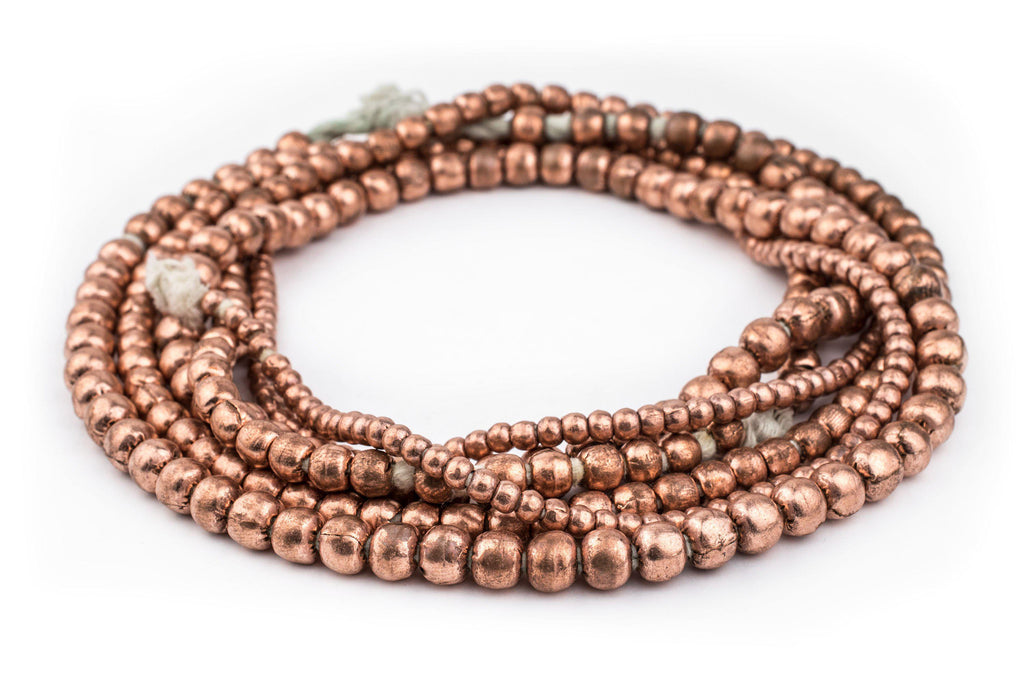 3 Strand Bundle: Ethiopian Round Copper Beads (4mm, 6mm, 8mm) - The Bead Chest
