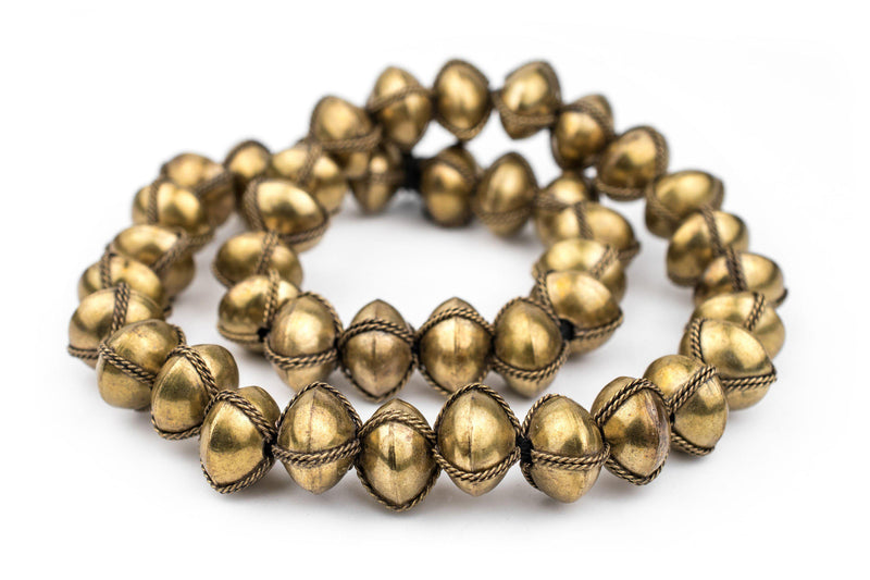 Ethiopian Wired Brass Saucer Beads (20mm) - The Bead Chest