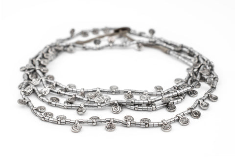 Silver Mini Baule Charm Beads (Double Strand Necklace) - The Bead Chest