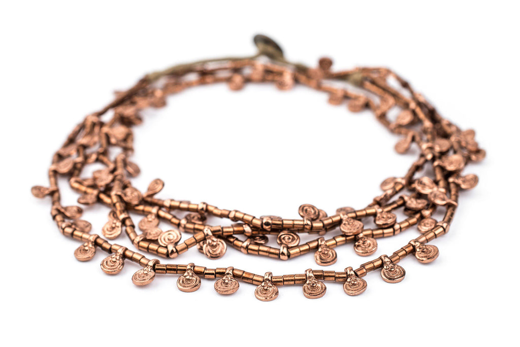 Copper Mini Baule Charm Beads (Double Strand Necklace) - The Bead Chest