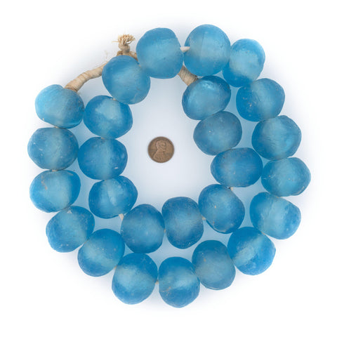 Image of Super Jumbo Baby Blue Recycled Glass Beads (36mm) - The Bead Chest