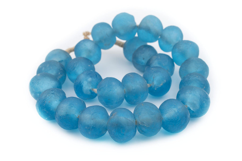 Super Jumbo Baby Blue Recycled Glass Beads (36mm) - The Bead Chest
