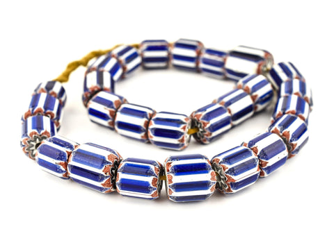 Jumbo Blue & White Nepal Chevron Beads (16x18mm) - The Bead Chest