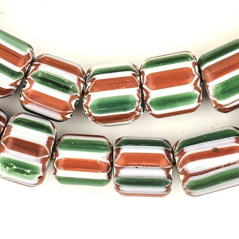 Candycane Nepal Chevron Beads (12x12mm) - The Bead Chest
